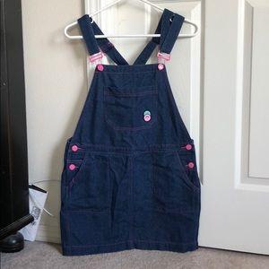Lazy Oaf denim overall skirt, sz S